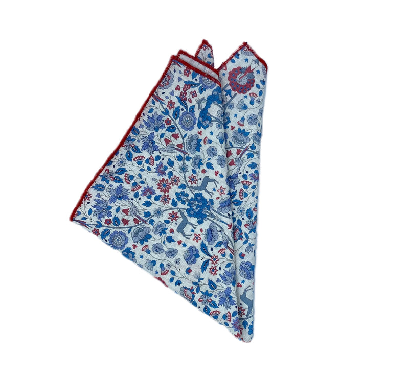 Pocket Square - Liberty of London- Grey, Steel Blue, Brick Red, Winter White