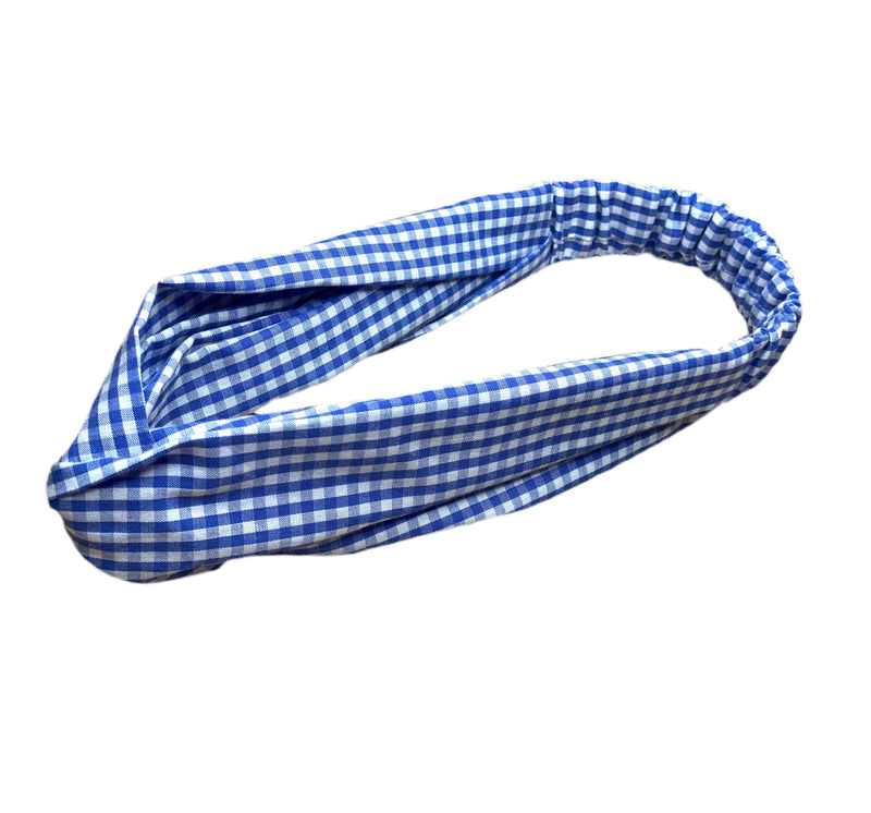 SAMPLE SALE! Helen Style Headband - Blue and White Gingham