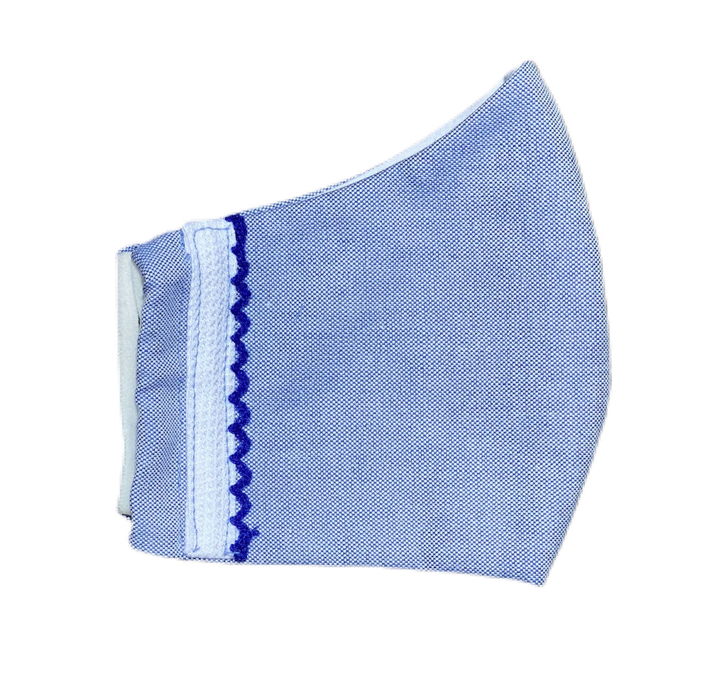 Fabric Face Mask -  Blue Oxford Cloth Shirting Fabric- With Ribbon Trim