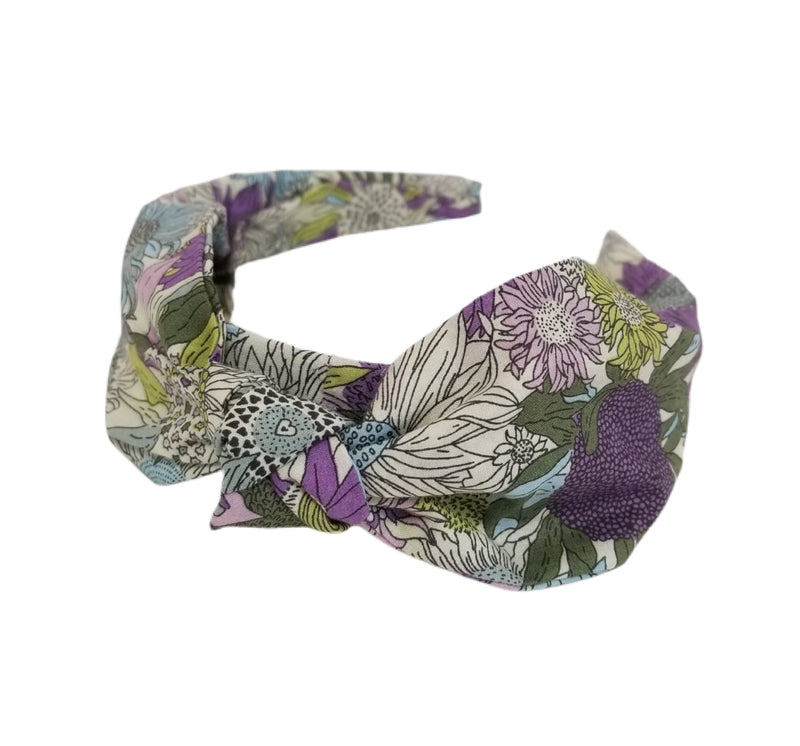 Wide Band Liberty of London Headband - Purple, Green, and Light Blue
