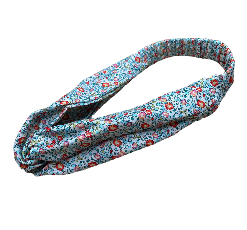 Helen Style Liberty of London Headband - Turquoise, Coral, Tomato Red