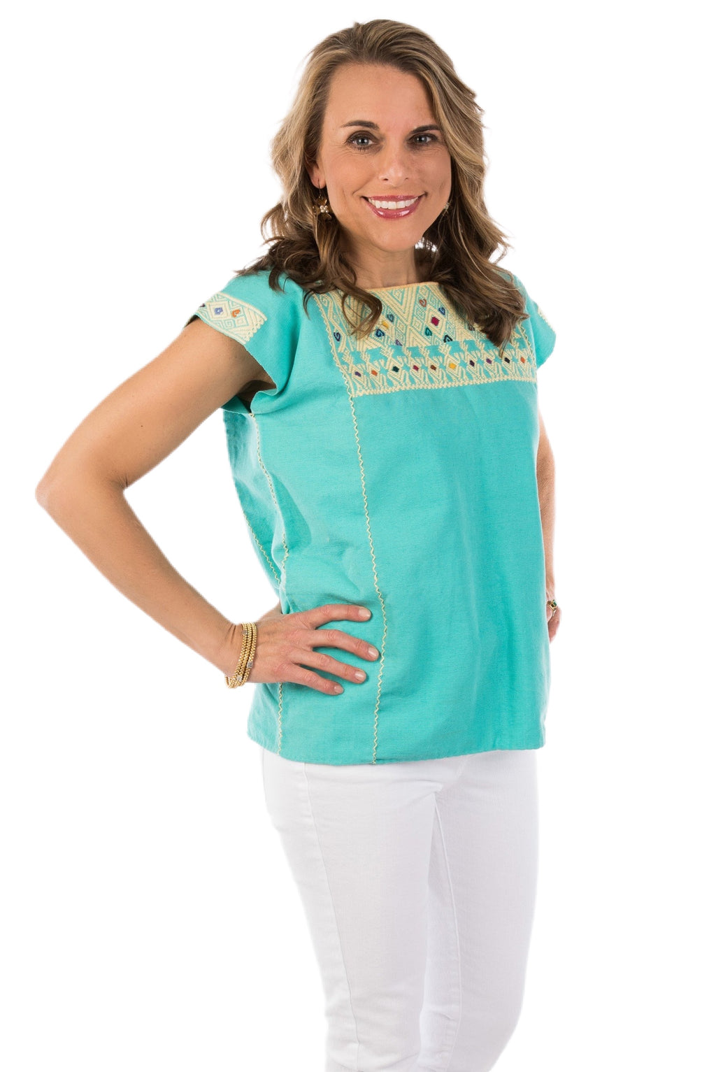 San Andres Mexican Blouse - Turquoise