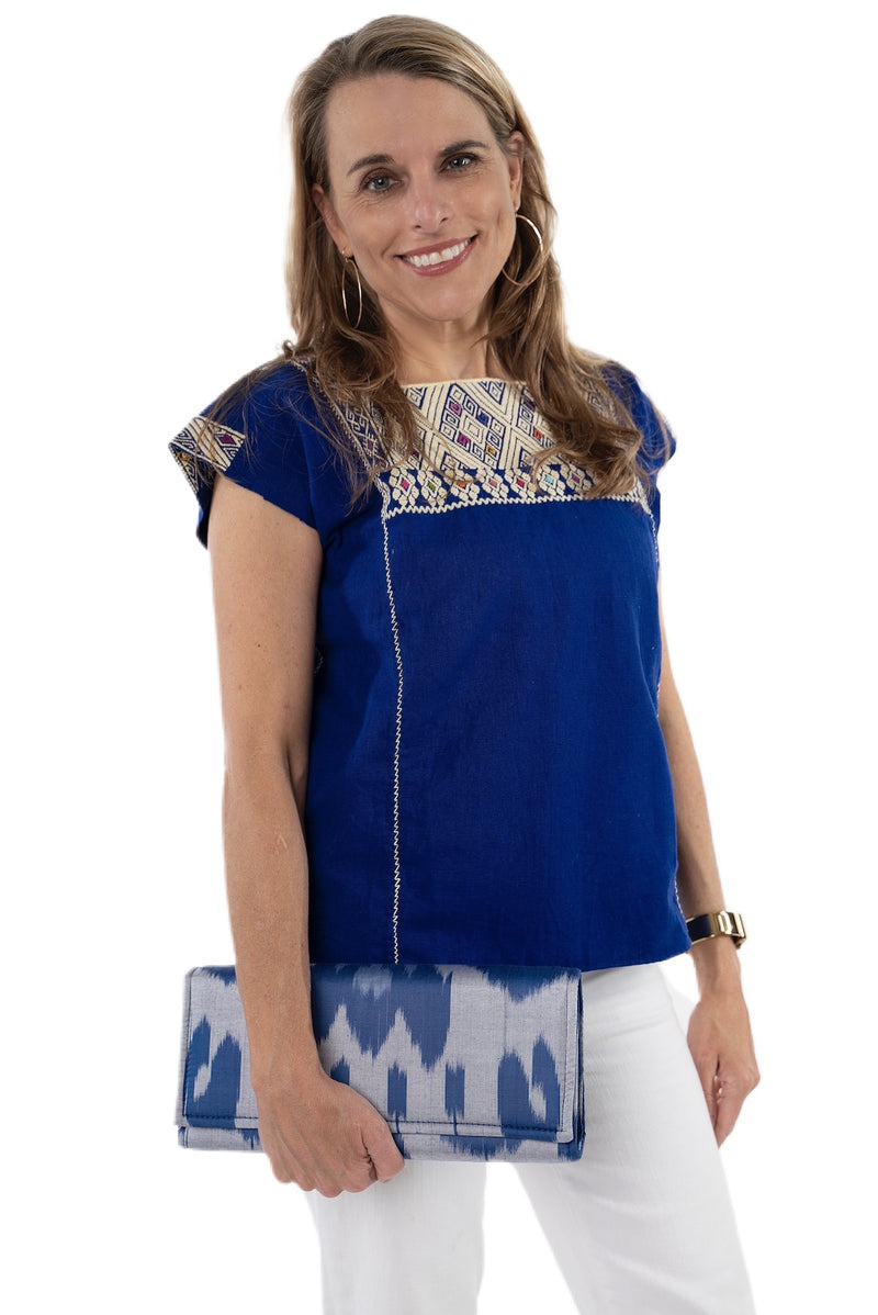 San Andres Mexican Blouse - Royal Blue