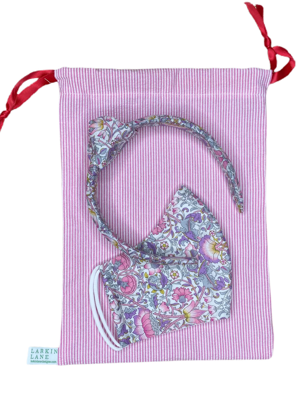 Headband + Face Mask Gift Set, Liberty of London, Pink, Lavender, Grey, Yellow