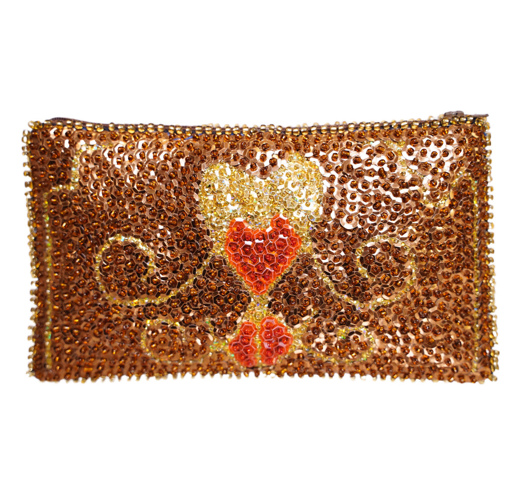 Erzulie Beaded Clutch- Copper, Gold, and Tomato