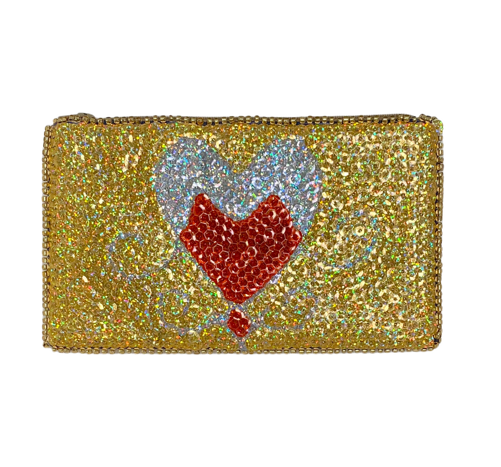 Erzulie Beaded Clutch, Gold, Red, Silver