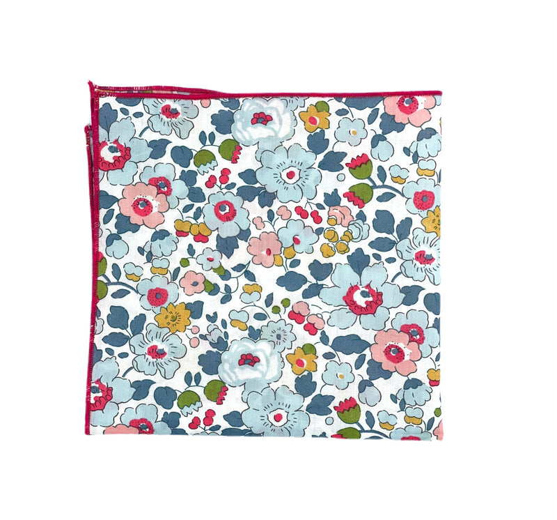 Pocket Square - Liberty of London- Grey, Mustard, Light Pink, Raspberry