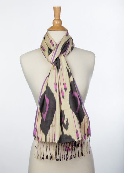 """Lagniappe"" Silk Ikat Scarf in Ivory, Purple, and Black"