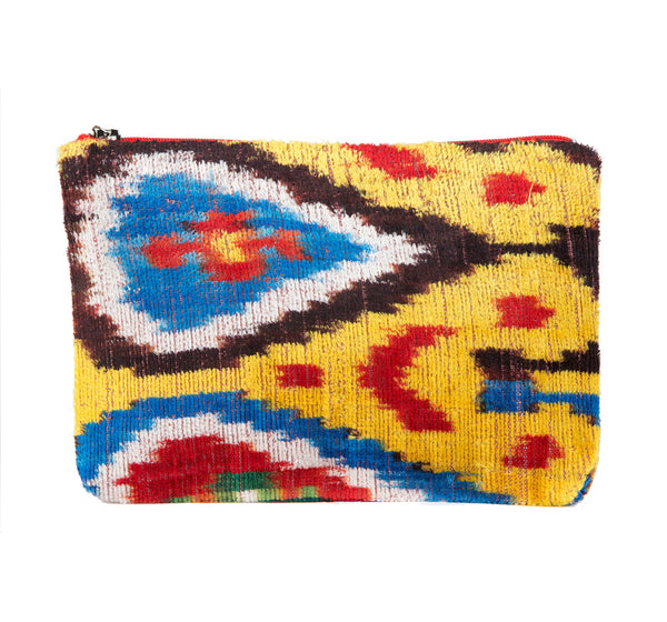 """Madrid"" Silk Velvet Ikat Clutch, Small"