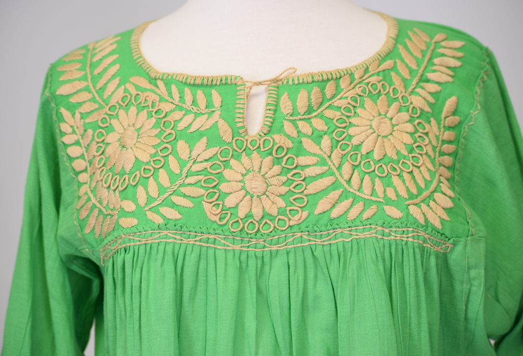 Girasole Mexican Blouse, Spring Green and Taupe