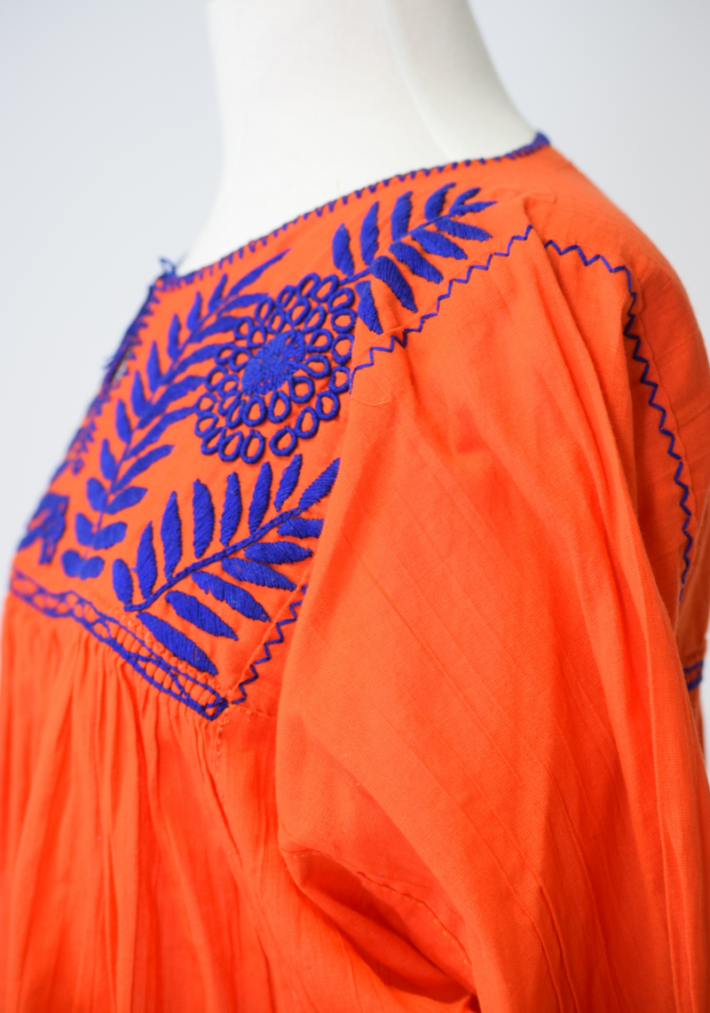 Girasole Mexican Blouse - Orange and Blue