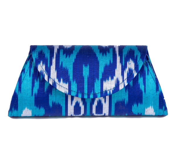 """Mykonos"" Silk Ikat Hard Shell Clutch, Small, in Royal blue, and Turquoise"