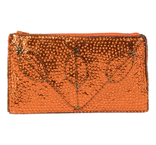 """Marassa"" Beaded Evening Clutch in Orange and Copper"