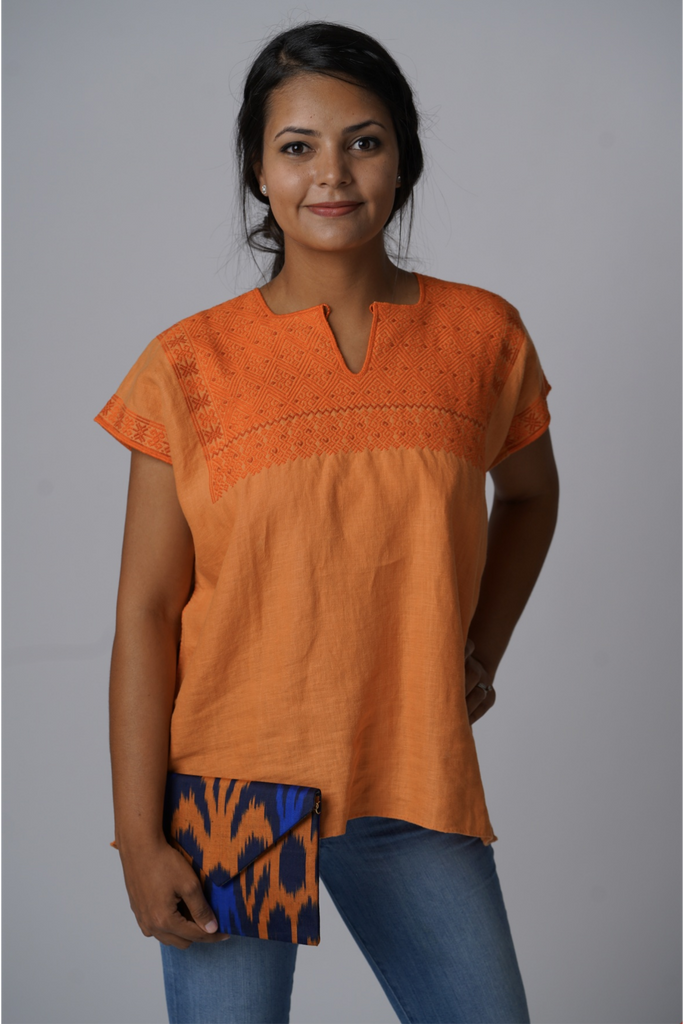 """Soledad""  Blouse from Mexico, Embroidered Linen in Orange"