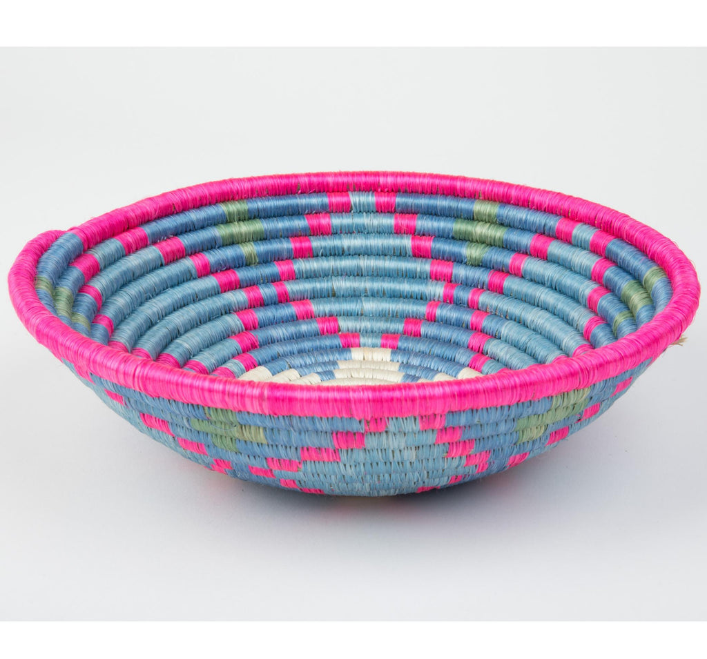 """Joy Basket"" from Rwanda, Pink, Blue, Green"