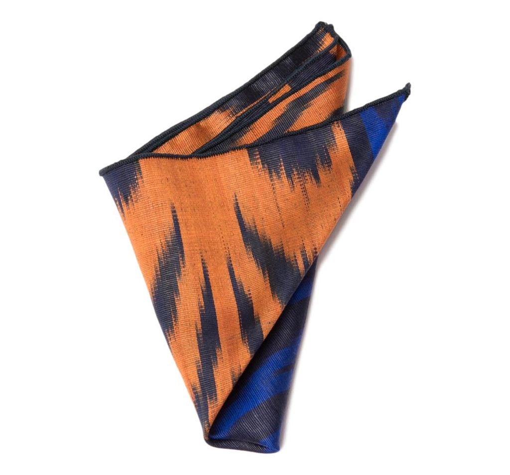"""Hayfields"" Pocket Square, Silk Ikat, Blue and Orange"