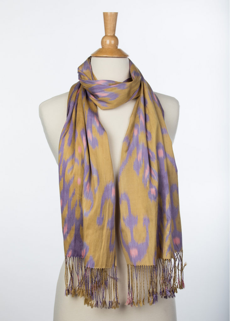 Ponte Vedra Silk Ikat Scarf in Champagne, Lilac and Blush Pink