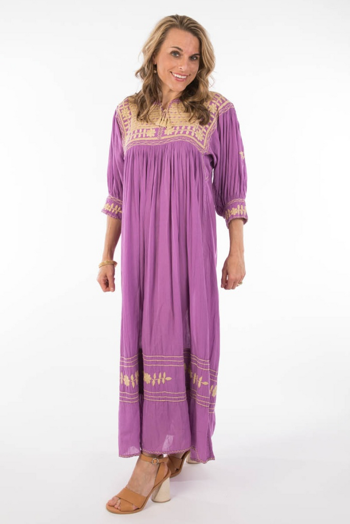 """Colinas"" Mexican Embroidered Dress, Purple"