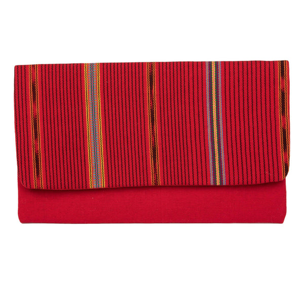 """Franja"" Guatemalan Textile Clutch,Red/ Multicolor"