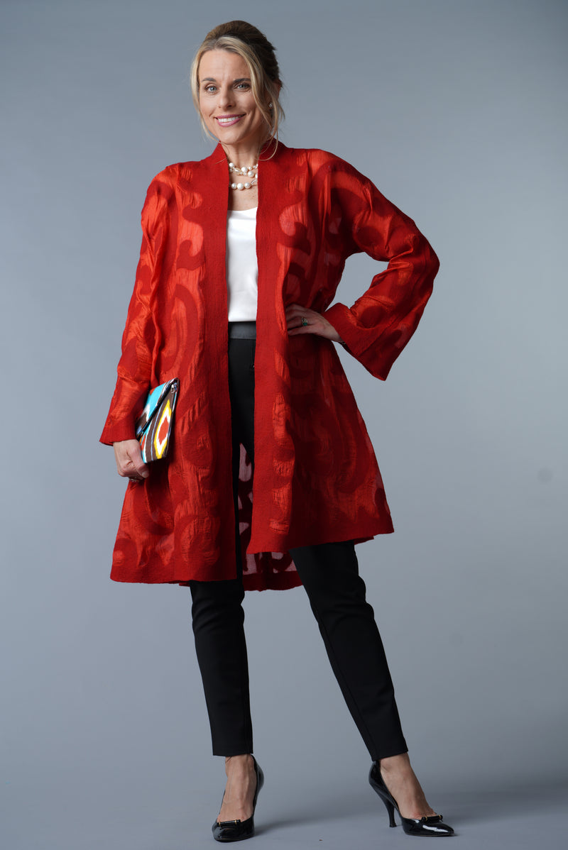 Felted Wool Coat - Red