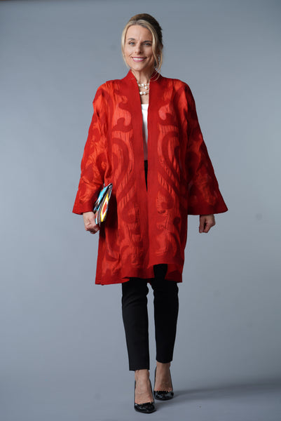 Felted Wool / Silk Coat from Kyrgyszstan, Red