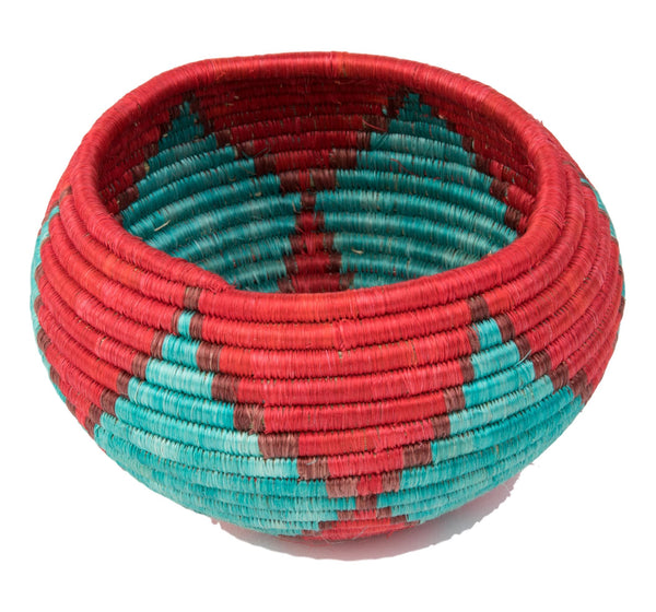 """Joy Basket/ Bowl"" from Rwanda Red, Turquoise"