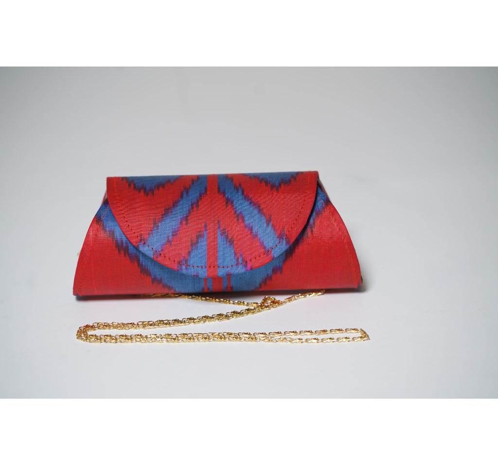 """Rowan"" Silk Ikat Hard Shell Clutch, Small"