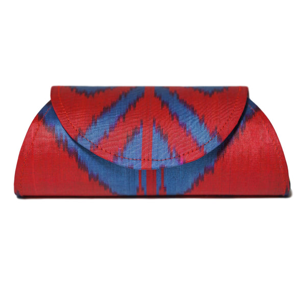"""Rowan"" Silk Ikat Hard Shell Clutch, Small in Red and Blue"