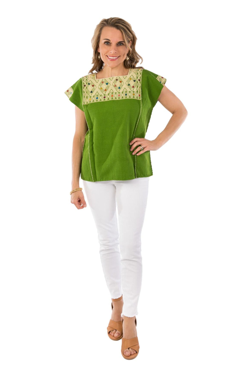 San Andres Mexican Blouse - Green