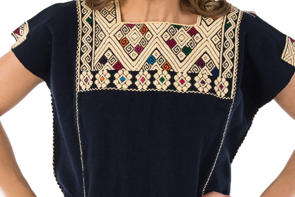 San Andres Mexican Blouse - Navy