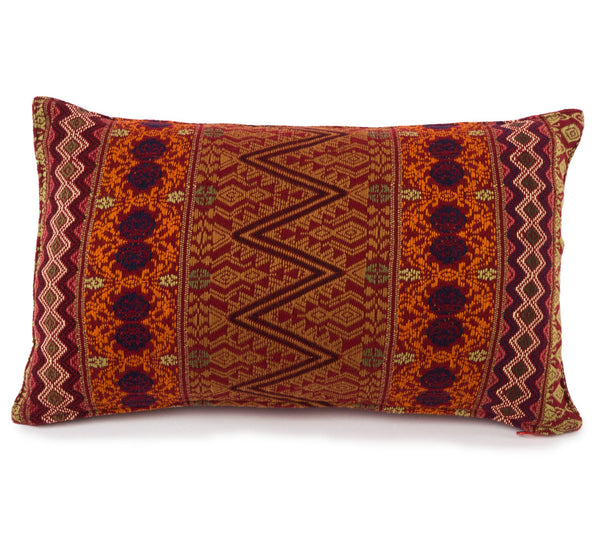 """Sergio"" Guatemalan Textile Pillow in Merlot, Burnt-Orange and Berry"