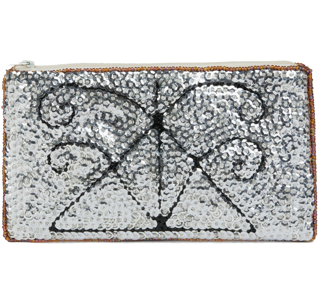 """Agasou"" Beaded Evening Clutch in Silver and Black"