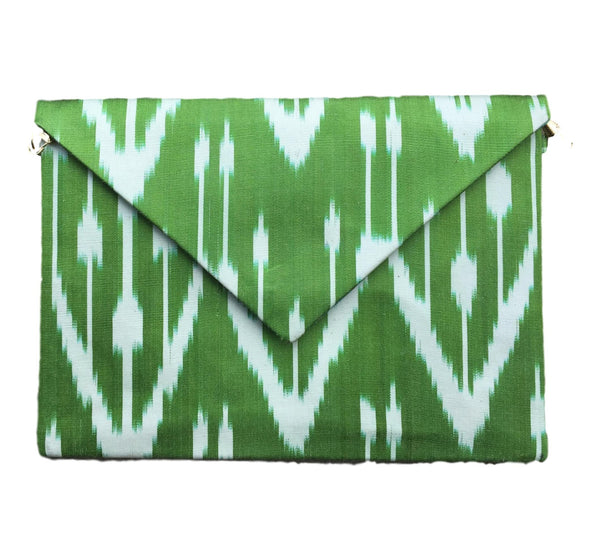 """Brunswick"" Silk Ikat Envelope Clutch, Large"
