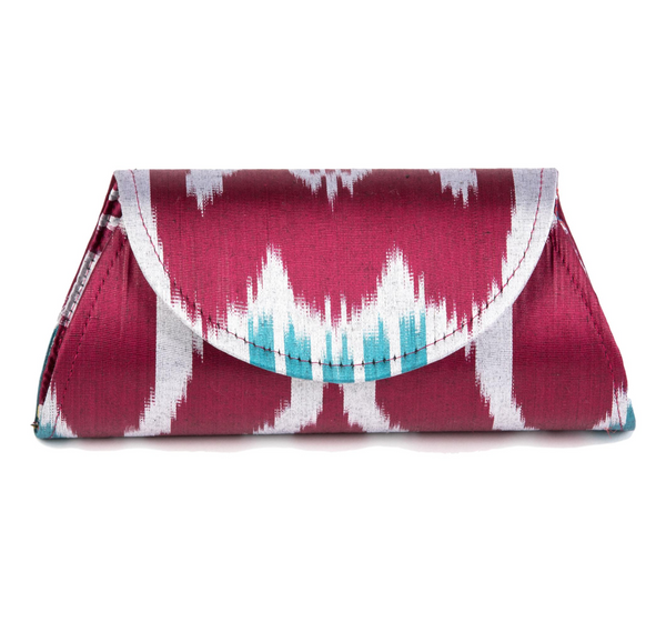 """Bryant"" Silk Ikat Hard Shell Clutch, Small"