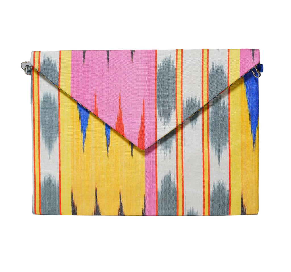 silk ikat envelope clutch hand made in Uzbekistan pink, yellow, royal blue, grey chic shape, pattern and colors