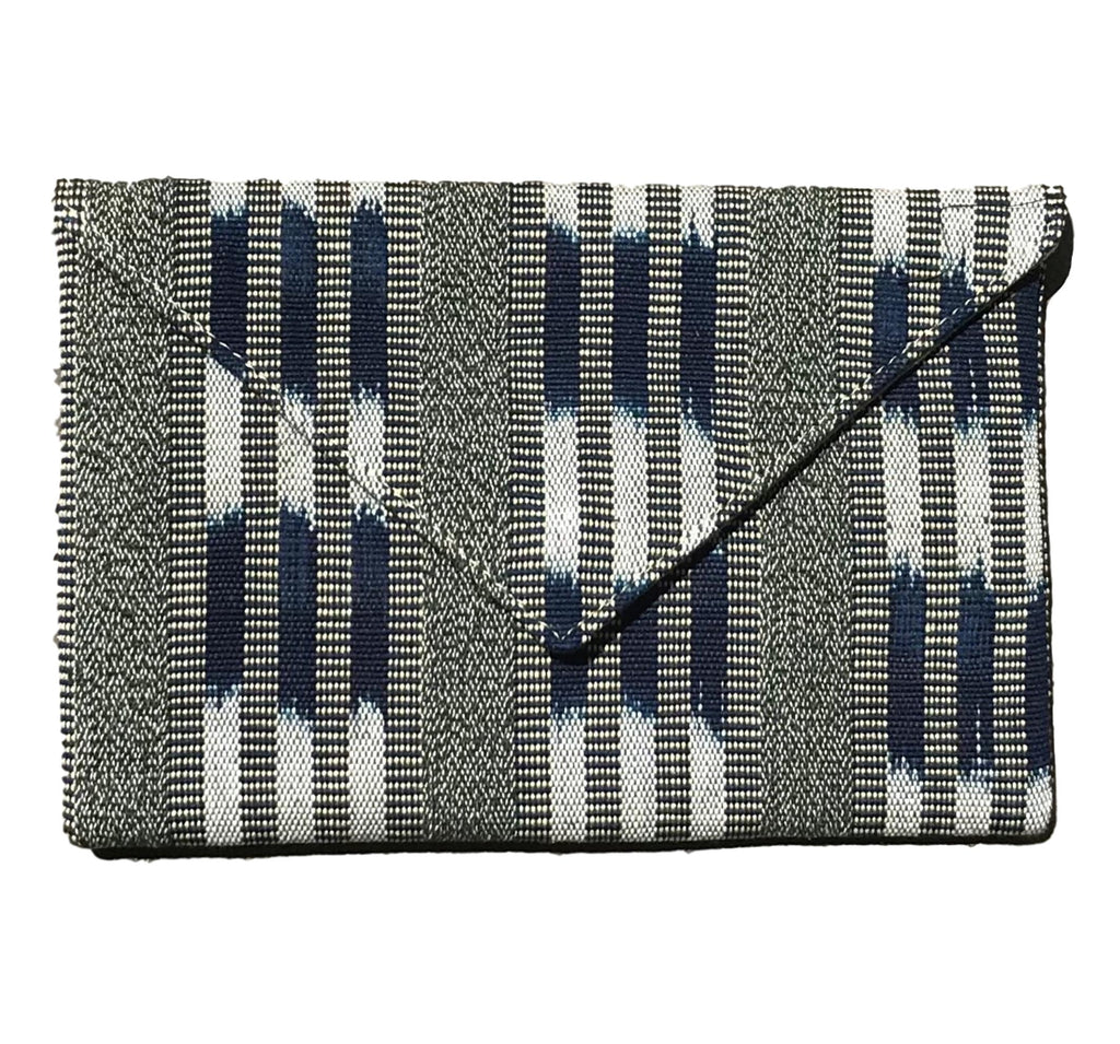 """San Benito"" Guatemalan Textile Clutch in Navy and Taupe"