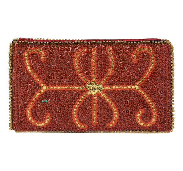 """Ayizan"" Beaded Evening Clutch in  Deep Tomato Red and Gold"
