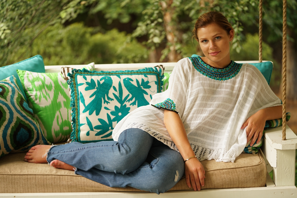 """Beatriz"" Guatemalan Blouse in Aqua/ Turquoise and Green with Detailed Bottom Edge"