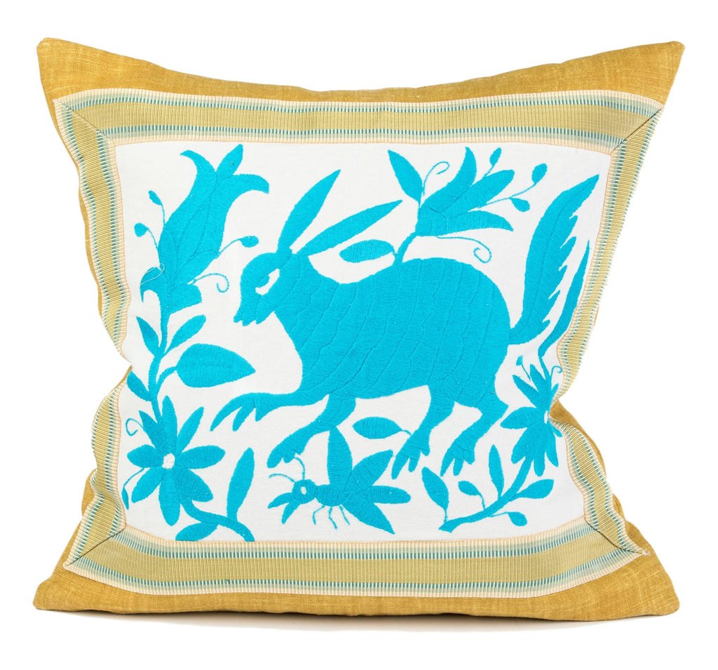 """Allende"" Otomi Pillow, Turquoise textile, Yellow Background Fabric"