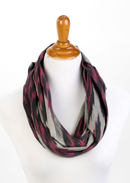 """Alden"" Cotton Ikat Infinity Scarf in Black Red and Grey"