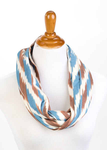 Cotton Ikat Infinity Scarf in Blue and Brown