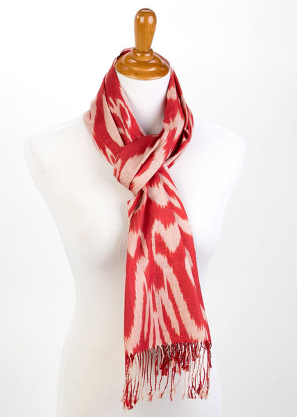 """Dumaine"" Silk Ikat Scarf in Red"
