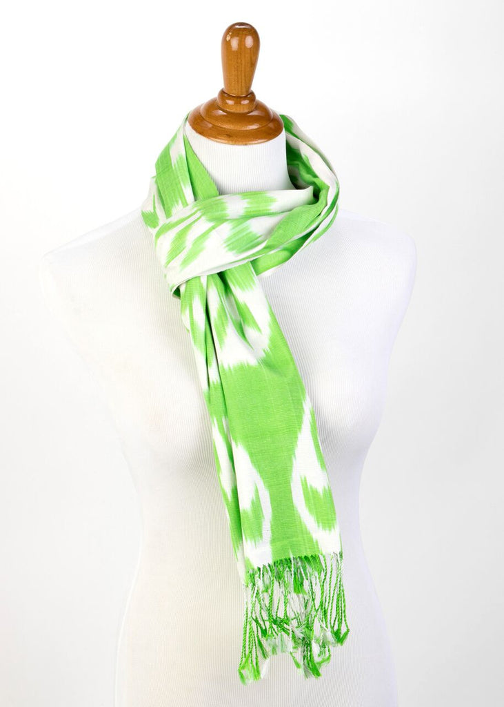 """Biarritz"" Silk Ikat Scarf in Light Green"