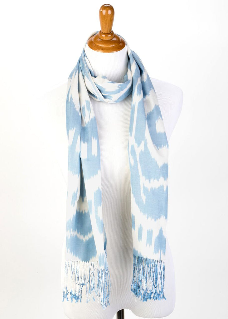 """Juliette"" Silk Ikat Scarf Blue and white White"