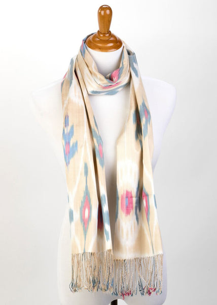 """Bienville"" Silk Ikat Scarf Beige, Blue, and Rose"