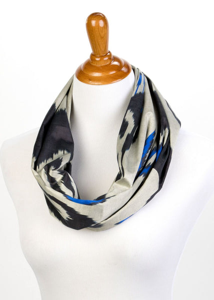 """Cecile"" Silk Ikat Infinity Scarf in Grey, Blue and Black"