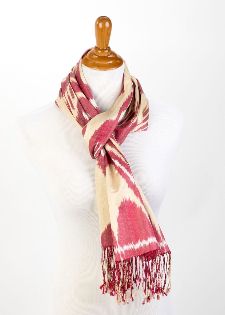 """Baronne"" Silk Ikat Scarf in Wine Red and Cream"