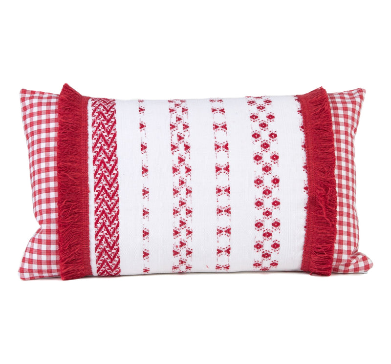 Guatemalan textile pillow a striking red and white pattern complemented by a check background fabric and brush fringe