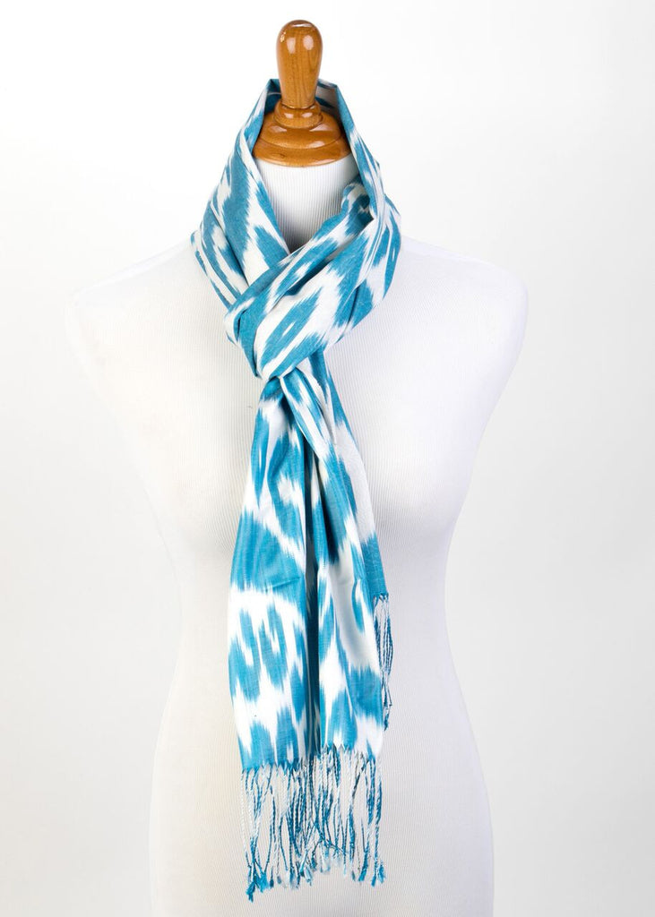 """Calliope"" Silk Ikat Scarf in Teal"