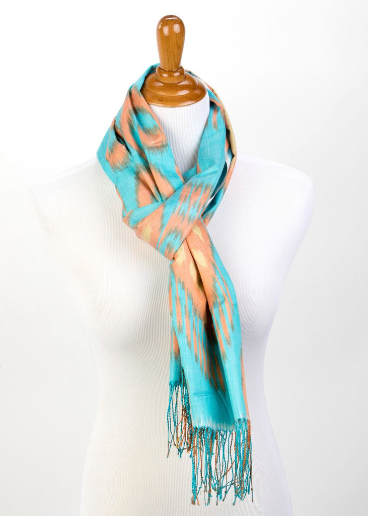 """Canton"" Silk Ikat Scarf in Teale and Tangerine"